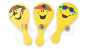 Smiley Paddleball Games can triple as a party activity, party favor, and if you cut the little bouncy ball off, as platter or tray