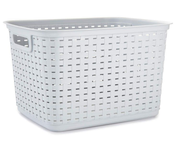 Sterilite Cement Tall Gray Weave Basket Basket Stacking Bins