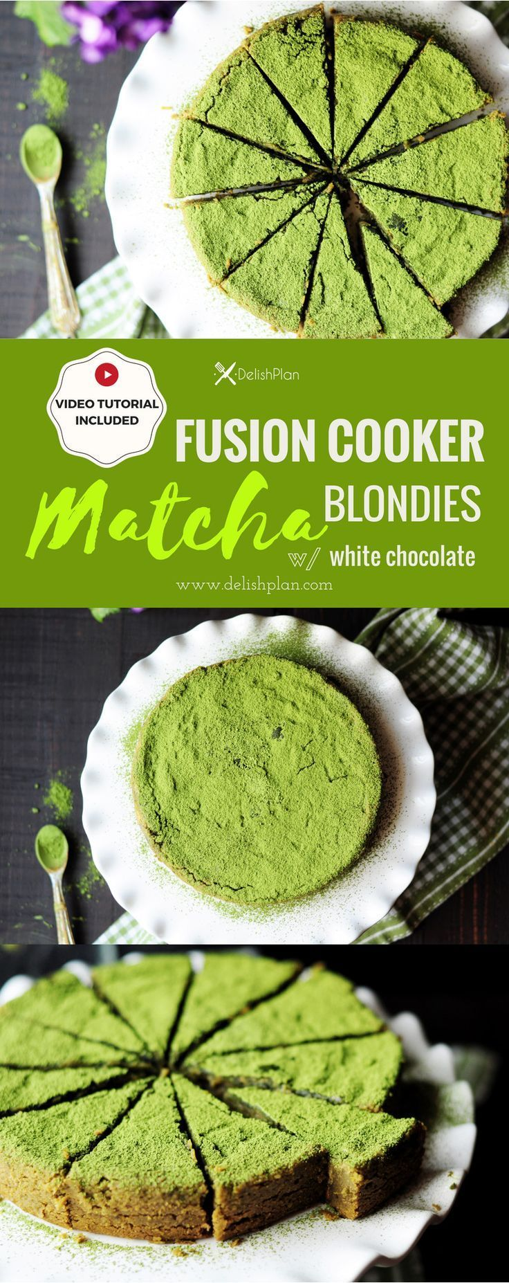 Gluten Free Matcha Blondie Recipe Fusion Cooker Oven Method Included Video Recipe Blondies Recipe Recipes Sugar Free Recipes Desserts