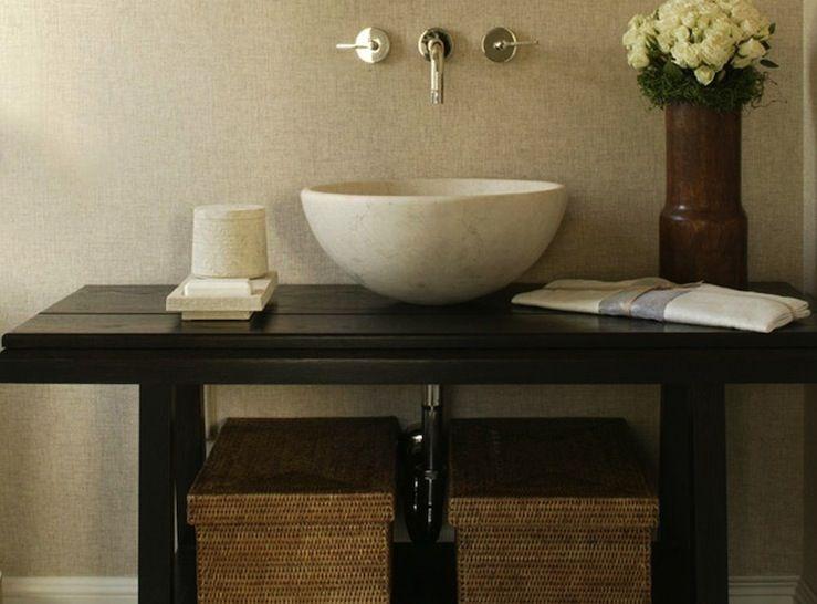 Suzie: Tamara Magel - Contemporary zen bathroom design with mushroom  grasscloth wallpaper, .