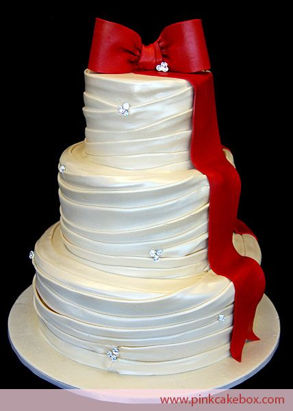 Wedding Dress Cake With Red Ribbon By Pink Box In Denville Nj More