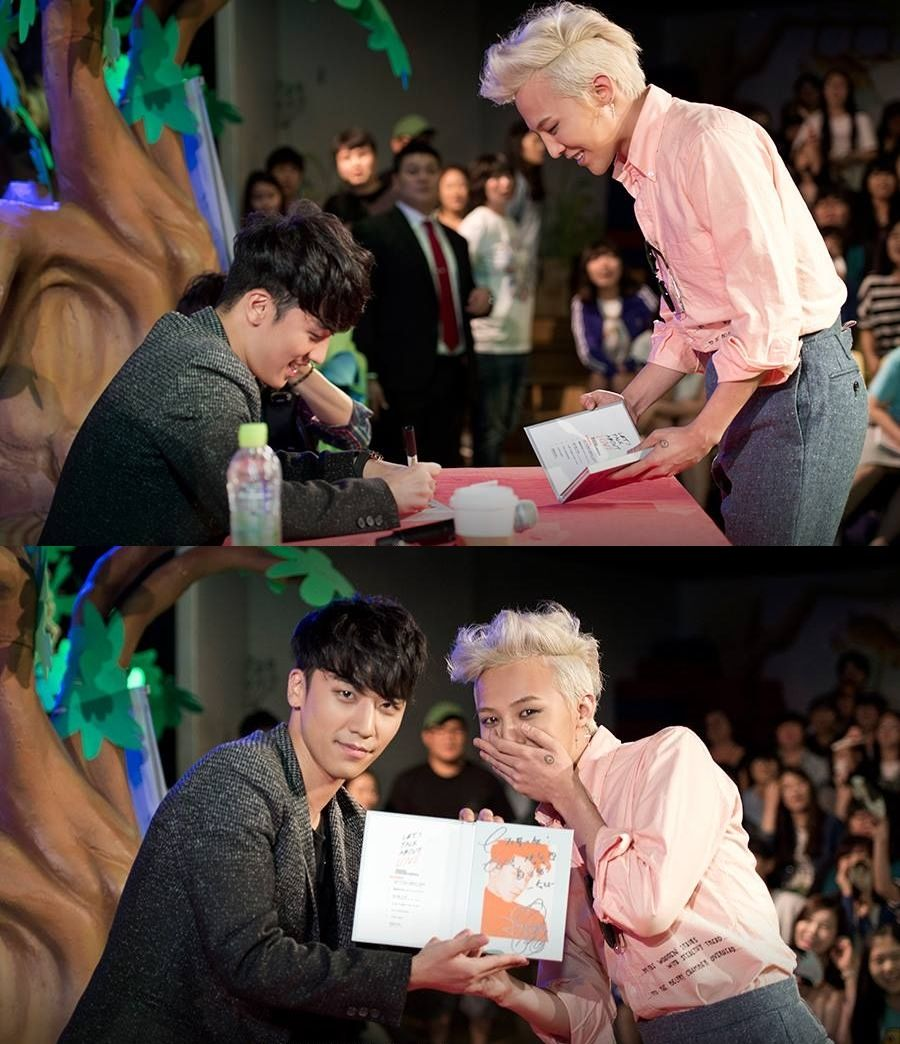 G-Dragon at Seung Ri's fan-signing event at Mecenat Polis, Hapjeong