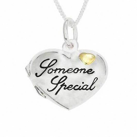 Zales Daughter Heart Locket in Sterling Silver and 14K Gold Plate (8 Characters) tEleJOD