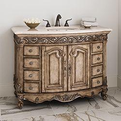 "48"" Provincial Medium Sink Chest Light Bathroom Vanity 06227-110-225 #BathroomRemodel #BlondyBathHome #BathroomVanity  #TraditionalVanity"