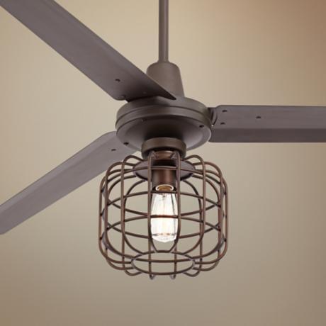 60 Turbina Cage Industrial Oil Rubbed Bronze Ceiling Fan U4514 7h393 Lamps Plus Industrial Ceiling Fan Ceiling Fan Bronze Ceiling Fan