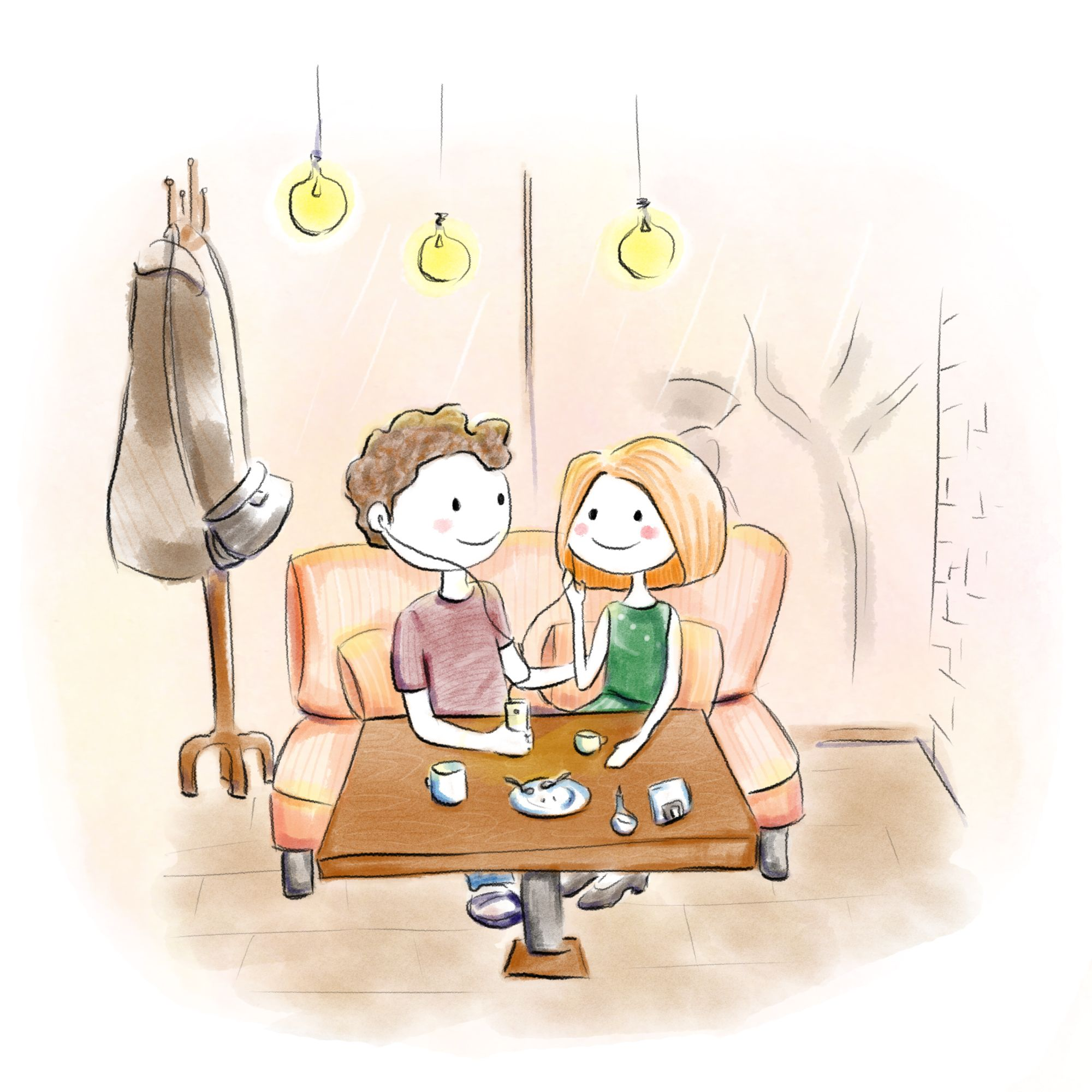 girl and boy in a cafe