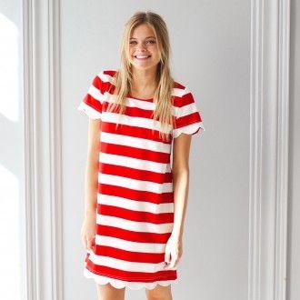 Dress - Red  Wide Stripe with Scallop Hem