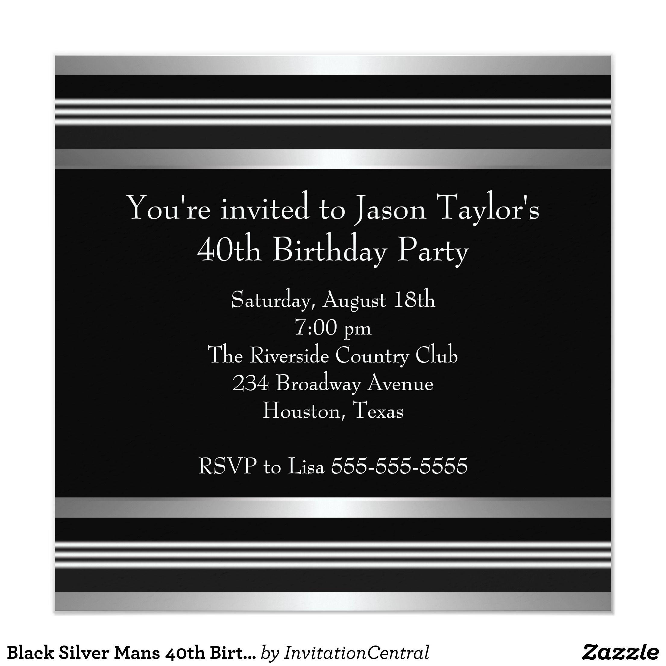 Black Silver Mans 40th Birthday Party Card Silver Man 40th