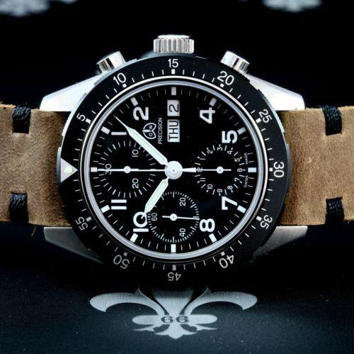 OLLECH-WAJS-Swiss-NOS-Precision-Diver-Chronograph-D-D-Watch-Valjoux-Cal-7750