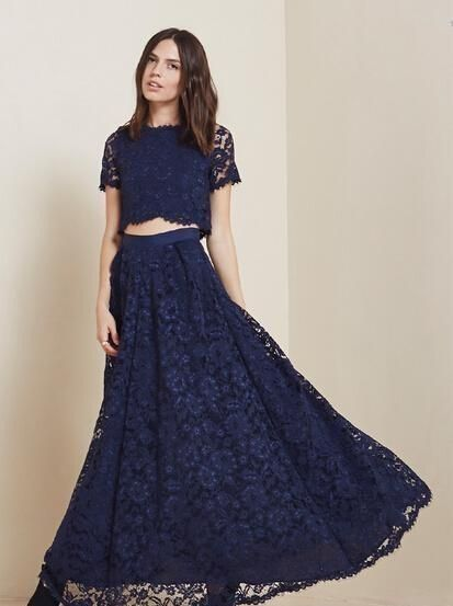 2015 Cheap Lace Two Pieces Prom Dresses Navy Blue Short