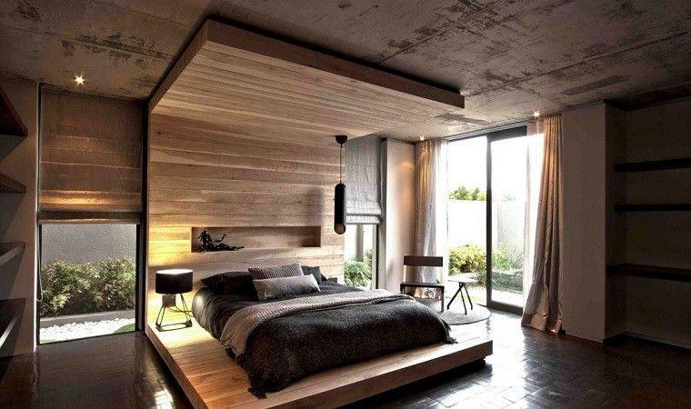 Cama con respaldo de madera preciosa en el domritorio - Cabeceras de cama de madera ...