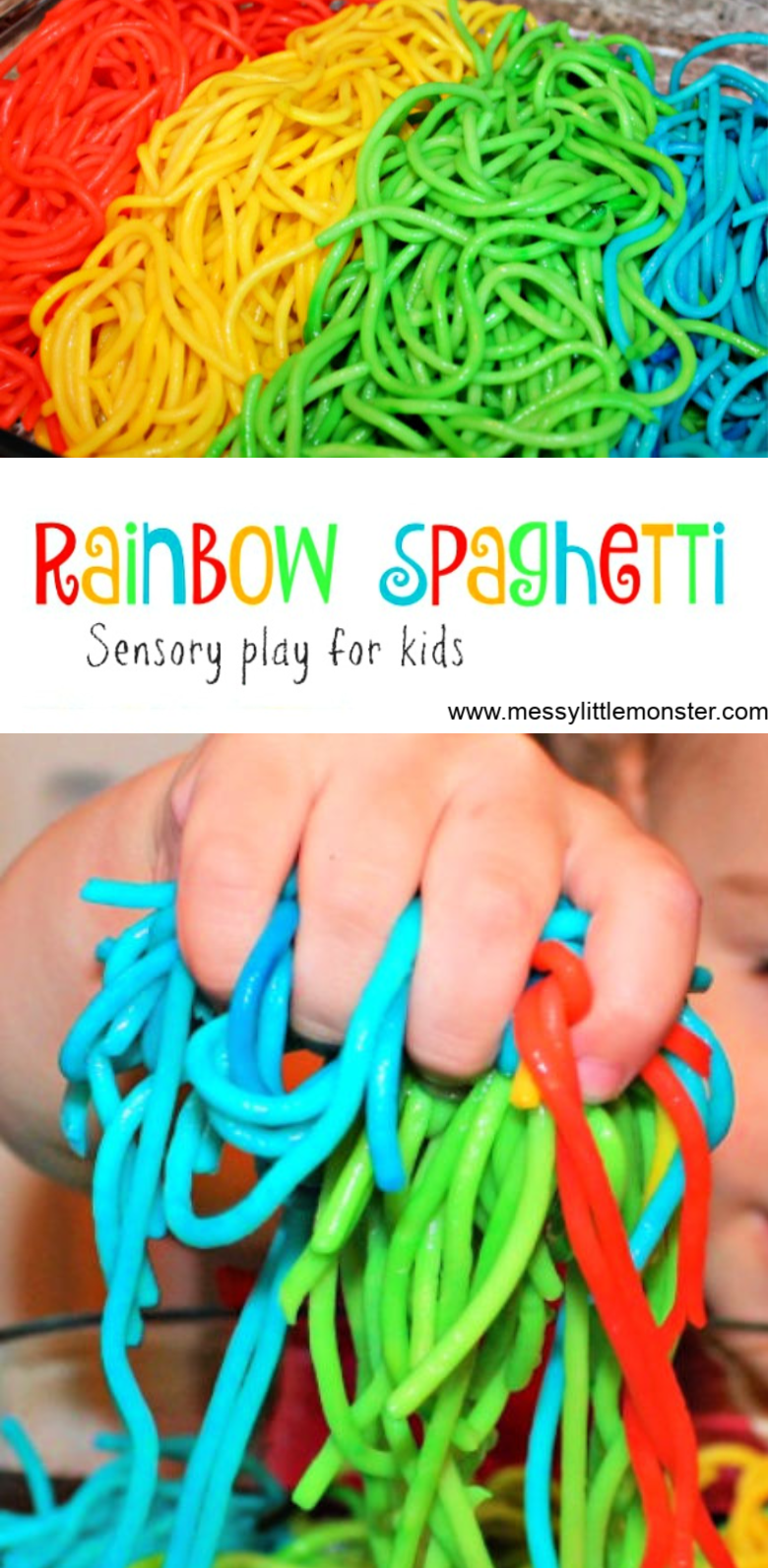 How to Make Rainbow Spaghetti for Sensory Play images