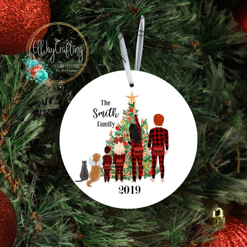 Personalized family Christmas ornament, kids, baby, with
