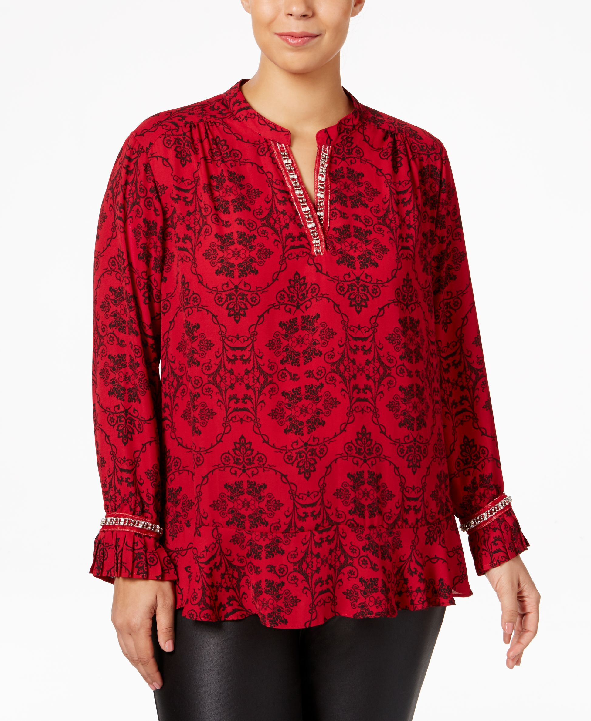 Ny Collection Plus Size Embellished Ruffled Blouse Ny Collection