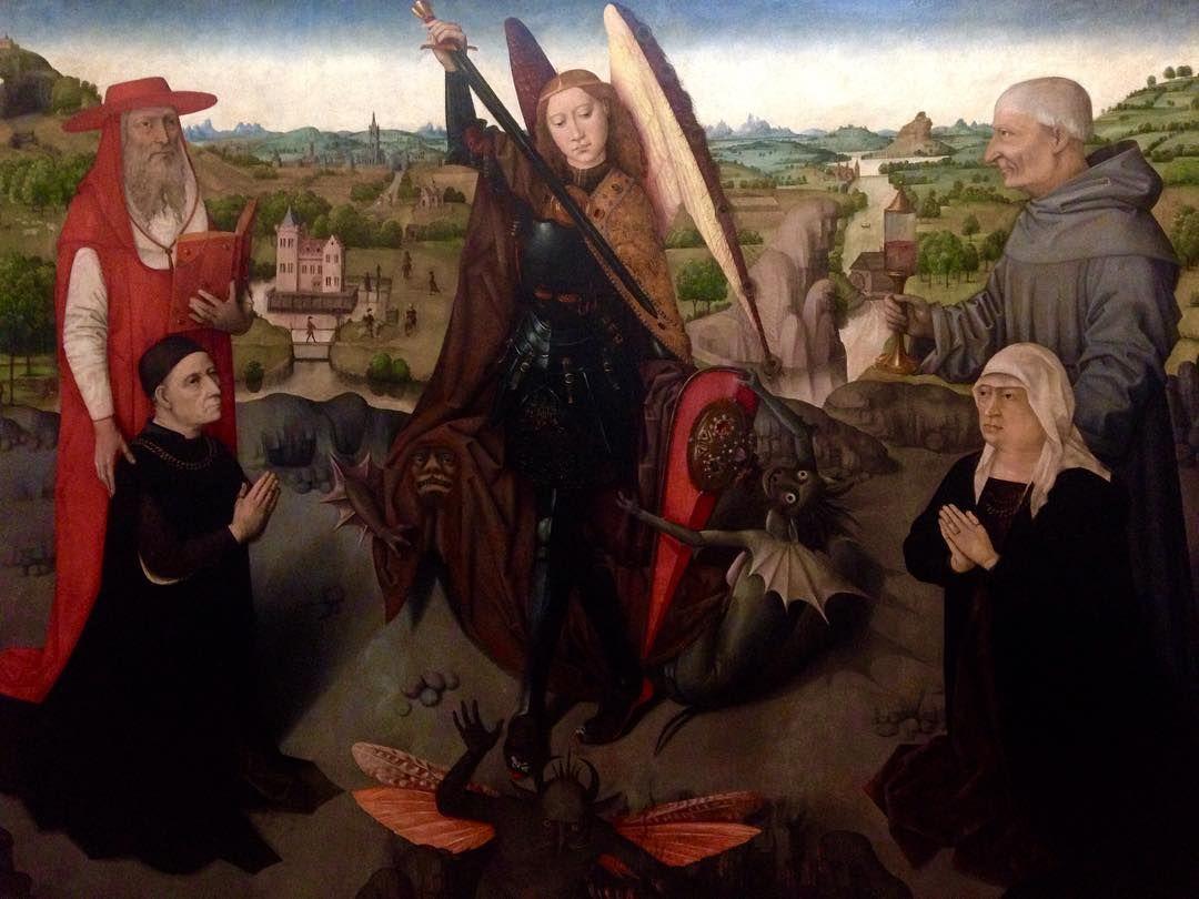 tempera su tavola del 1490-1500 ca. Qui il santo è ritratto insieme ai Santi Girolamo e Giacomo della Marca e due donatori.