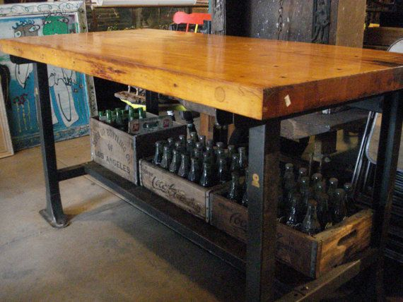 Antique Bench Butcher Block Top With Metal By