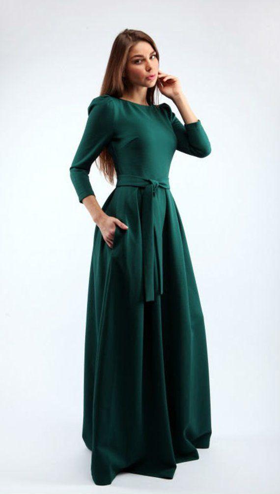 Maxi dunkelgrün Kleid Frau warmwintert Kleid mit Gürtel ...