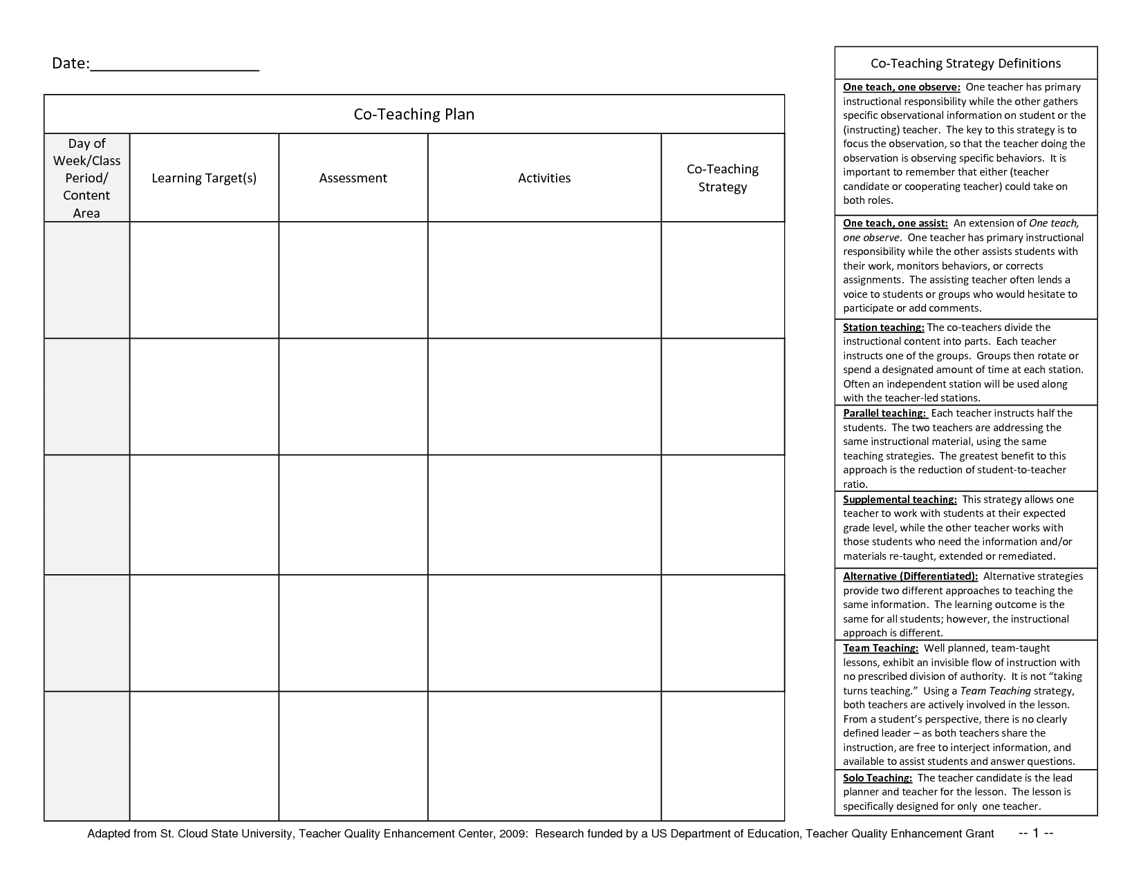 Beautiful Student Planner Templates | Co Teaching Planner Template 1