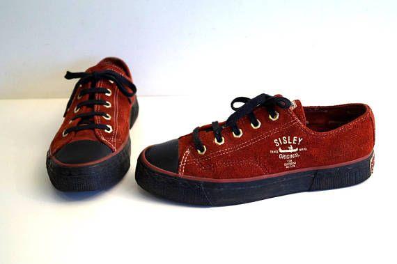 7d0b13400c SISLEY sneakers womens footwear red and black genuine suede