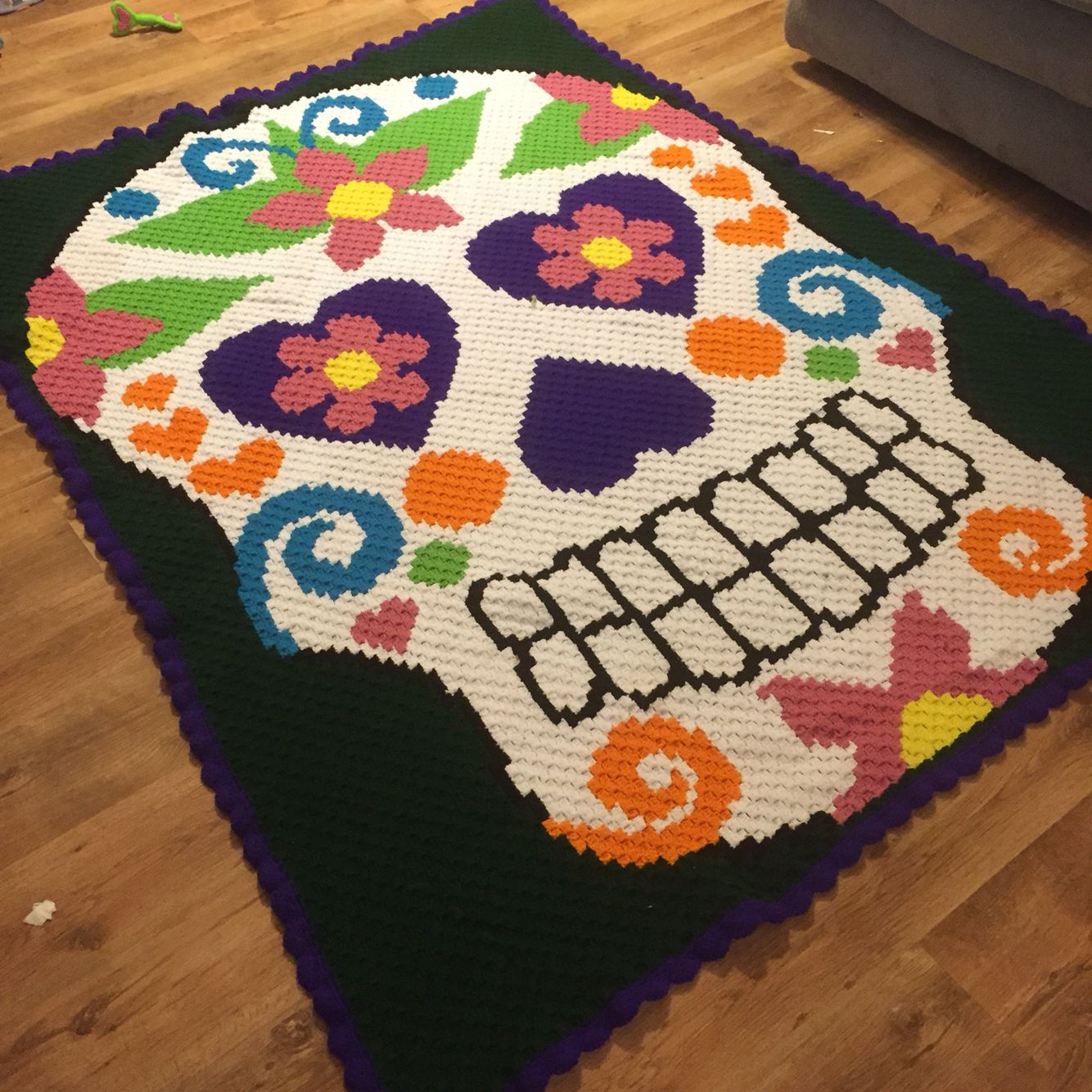 Corner to corner crochet afghan using a cross stitch graph from ...