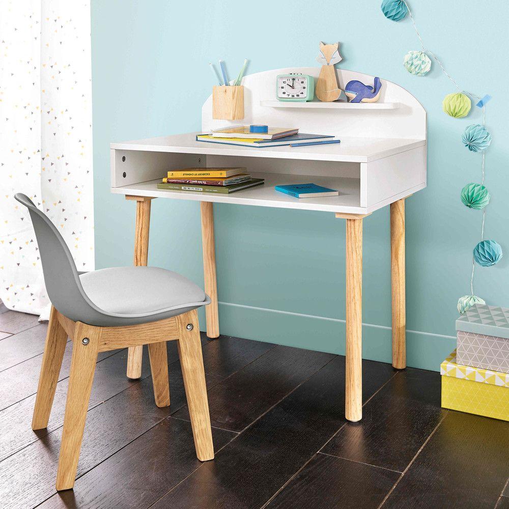 Bureau enfant en bois blanc l nuage chambre gar ons - Chambre bois blanc ...