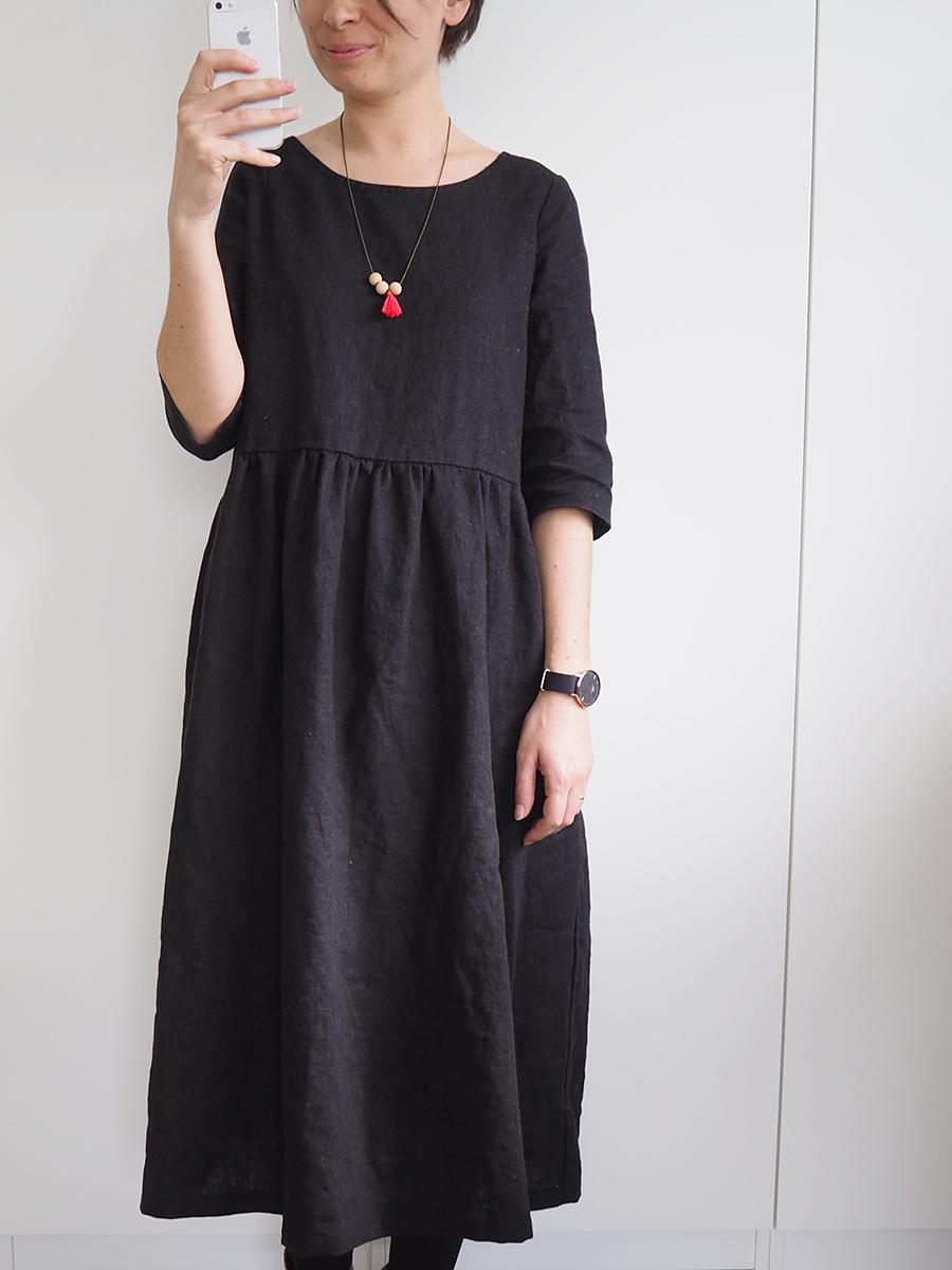 Jai encore cousu un de mes patrons favoris mais en le transformant en robe !  Cest ultra-simple.