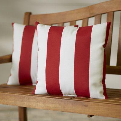 Breakwater Bay Kensington Outdoor Throw Pillow Color: Cabana Red