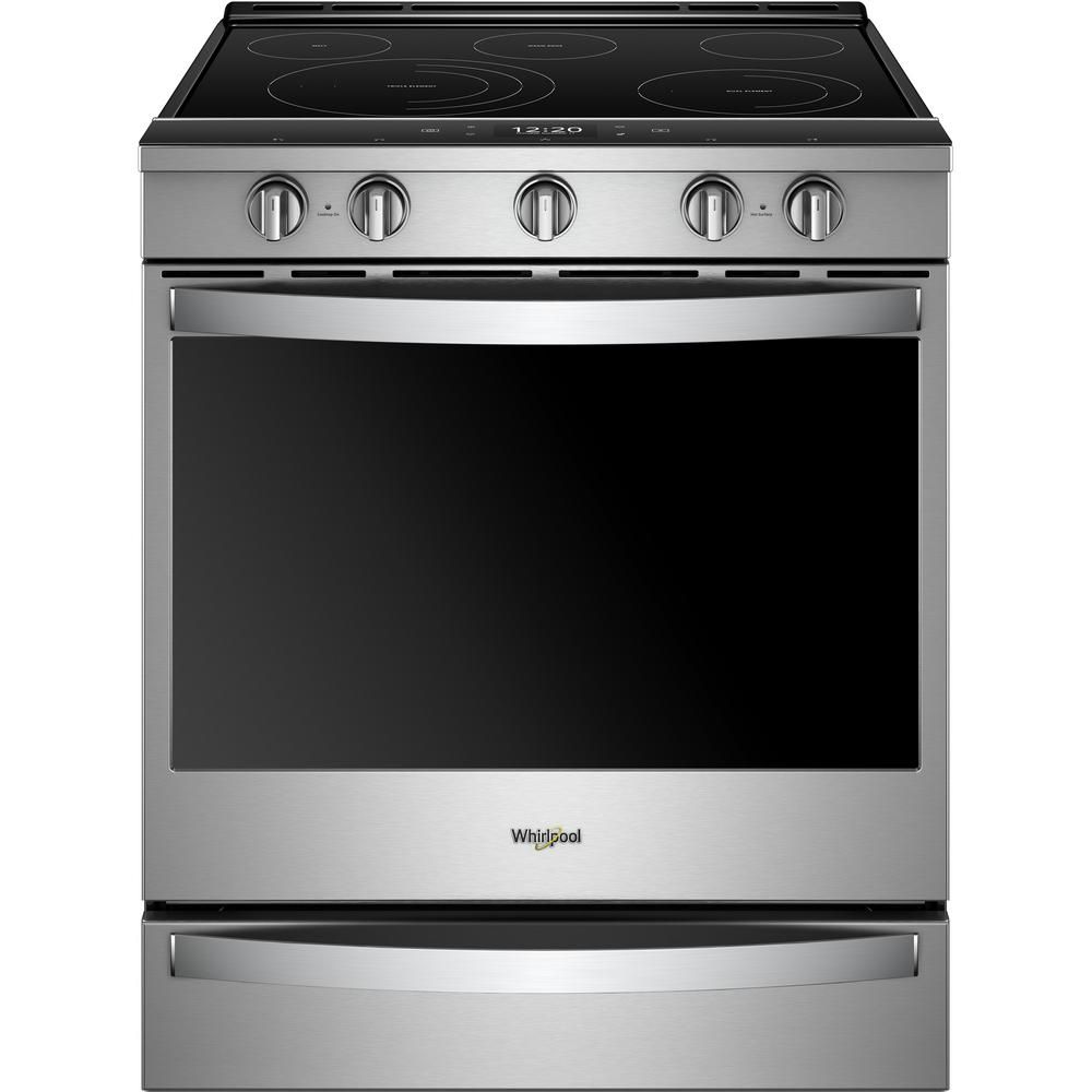 Whirlpool 6 4 Cu Ft Smart Slide In Electric Range With Scan To Cook Technology In Fingerprint Resistant Stainless Steel Wee750h0hz The Home Depot In 2020 Slide In Range Convection Range Whirlpool Stove