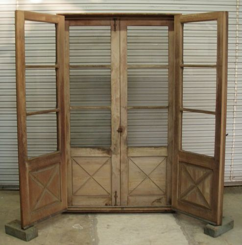 Antique double door set in casing w screen doors 7 39 tall x for Double wide french doors