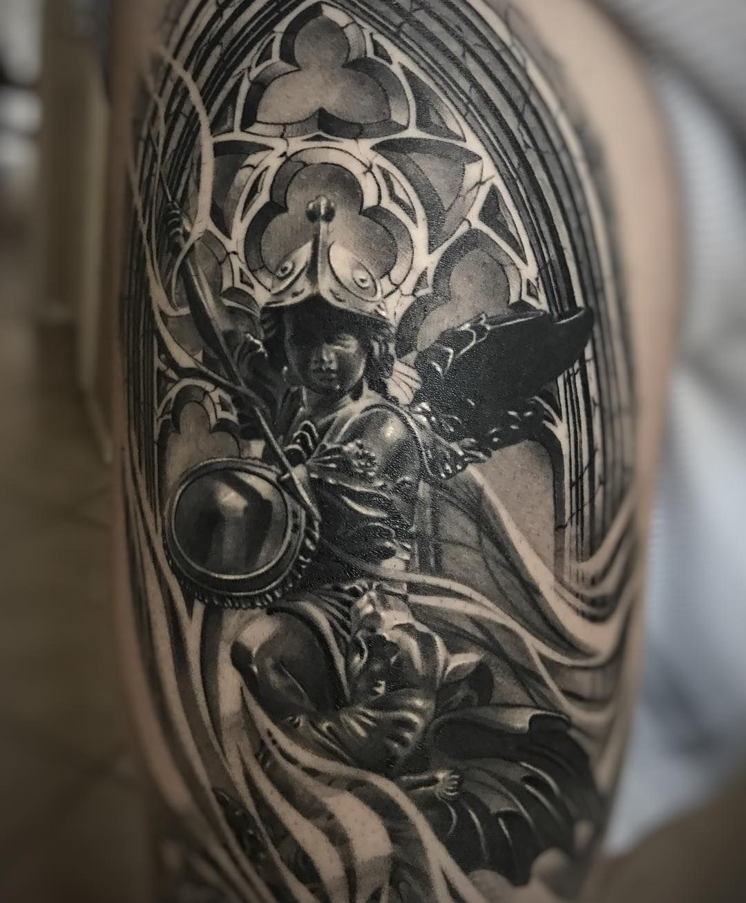 Healed photo my client sent me. This is on the quad, looking forward to continuing this project!! Thanks for looking. #davidreveles #tattoospooky #art #artist #legtattoo #blackandgrey #ink #inksav #theinkedlife #bnginksociety #blackandgreytattooleague #d_workd_of_ink #workinprogress