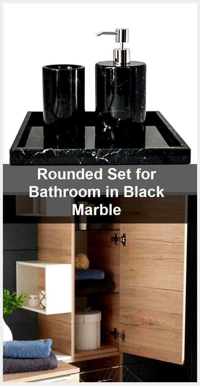 Photo of Rounded Set for Bathroom in Black Marble,  #Bathroom #black #Marble #Rounded #Set
