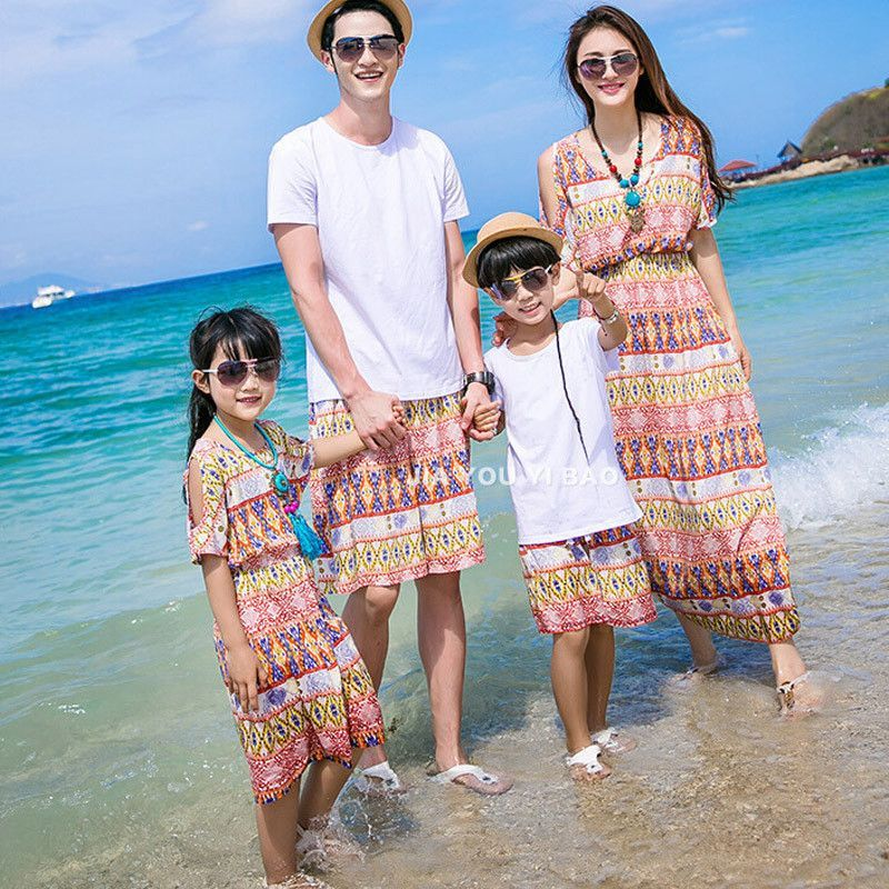 51ee7168db3e Summer Style Matching Family Outfits Bohemian Beach Strapless Maxi Dress  Matching Mother Daughter Dresses Father and son suits