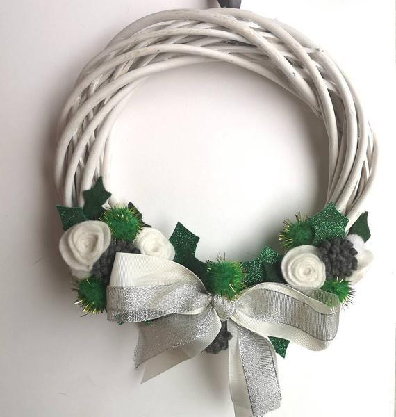 Photo of Christmas Felt Wreath / Modern Wreath / Flower Wreath / Felt Flowers / White Green Wreath / Wicker Wreath /