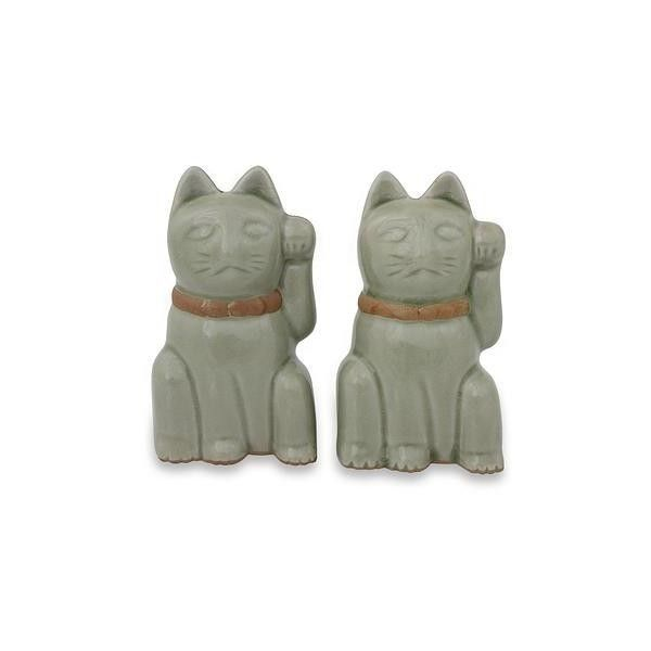 NOVICA Lucky Cat Thai Celadon Ceramic Figurines in Green (Pair) (€25) ❤ liked on Polyvore featuring home, home decor, clothing & accessories, green, sculpture, cat sculpture, animal figurines, cat figurines, novica and cat home decor