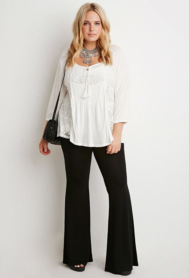 471e134a0eda1 Plus Size Stretch Knit Flared Pants