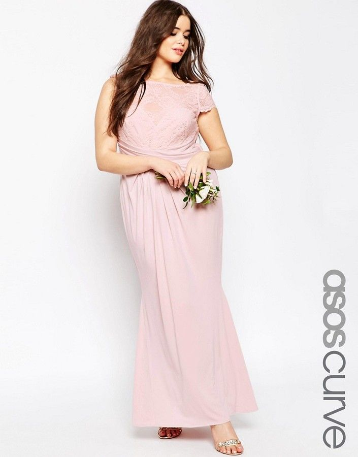 ASOS Curve ASOS CURVE WEDDING Pleated Maxi Dress With Lace Top ...