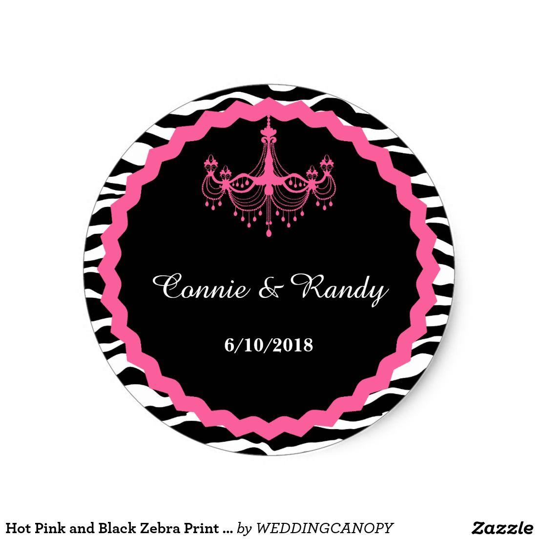 monogram wedding envelope seals sticker%0A Hot Pink and Black Zebra Print Monogram Wedding Classic Round Sticker