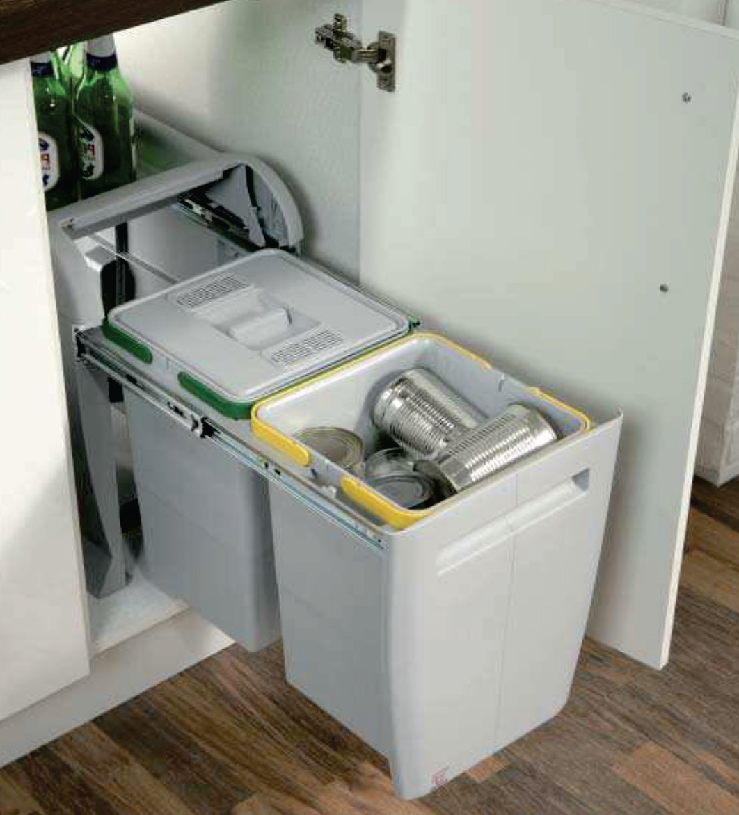 Environmentally Friendly Kitchen Cabinets: City Pullout Waste Bins For Cabinets. Made Of Eco-friendly