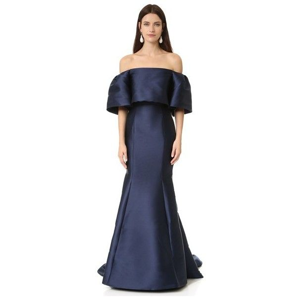 Monique Lhuillier Off Shoulder Gown (221,450 MKD) ❤ liked on ...