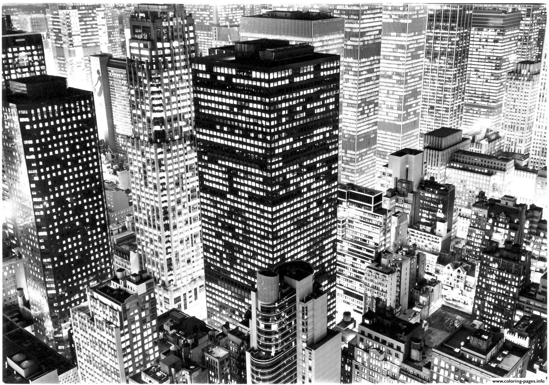 Print city photo new york buildings coloring pages | Creative ...