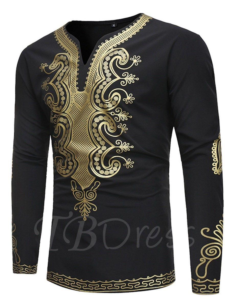 Dashiki gold print round collar slim menus tshirt pinterest