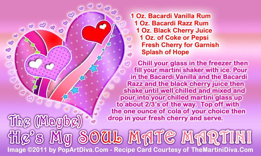 SOUL MATE MARTINI - Valentine Cocktail! Click image for the free, full sized recipe card and some Valentine Trivia.
