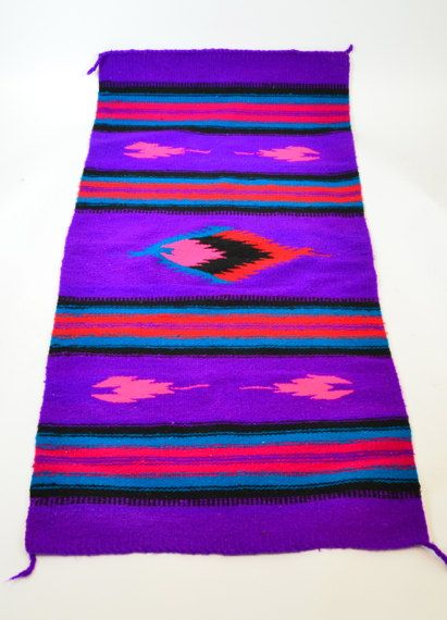 Southwestern Vibrant Violet Neon Pink Striped Handwoven Native American Rug 26 X 58
