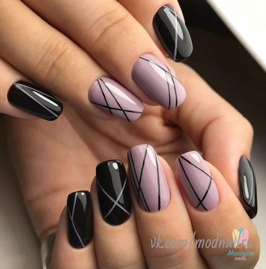 Nailart Stripes Lines Purple Black Lines On Nails Line Nail Designs Simple Acrylic Nails