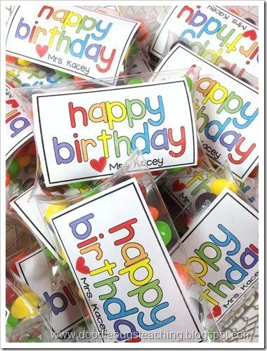 Student Birthday Treats - free tag dowload - http://doodlebugsteaching.blogspot.com/2013/07/birthday-treats.html