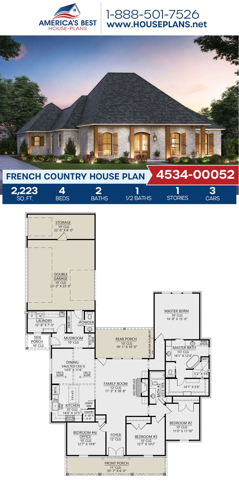 House Plan 4534 00052 French Country Plan 2 223 Square Feet 4 Bedrooms 2 5 Bathrooms French Country House Plans French Country House Country House Design