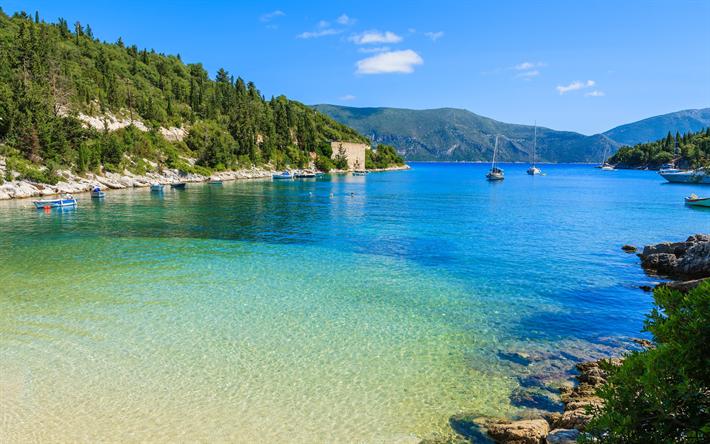 Lataa kuva Kefalonia, Saari, ranta, kesällä, Joonianmeren, Kreikka, matkailu, Joonianmeren Saaret