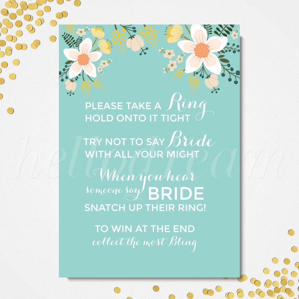 Don't Say Bride, Printable Turquoise Bridal Shower Game, Floral Wedding Shower - SKUHDG09 by hellodreamstudio on Etsy