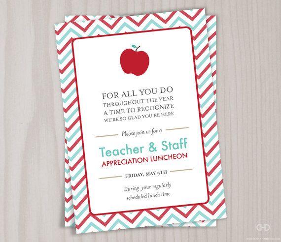 Teacher Appreciation Invitation Printable Teacher Thank You Card Retirement Teacher Appreciation Luncheon Teacher Appreciation Lunch Teacher Thank You Cards