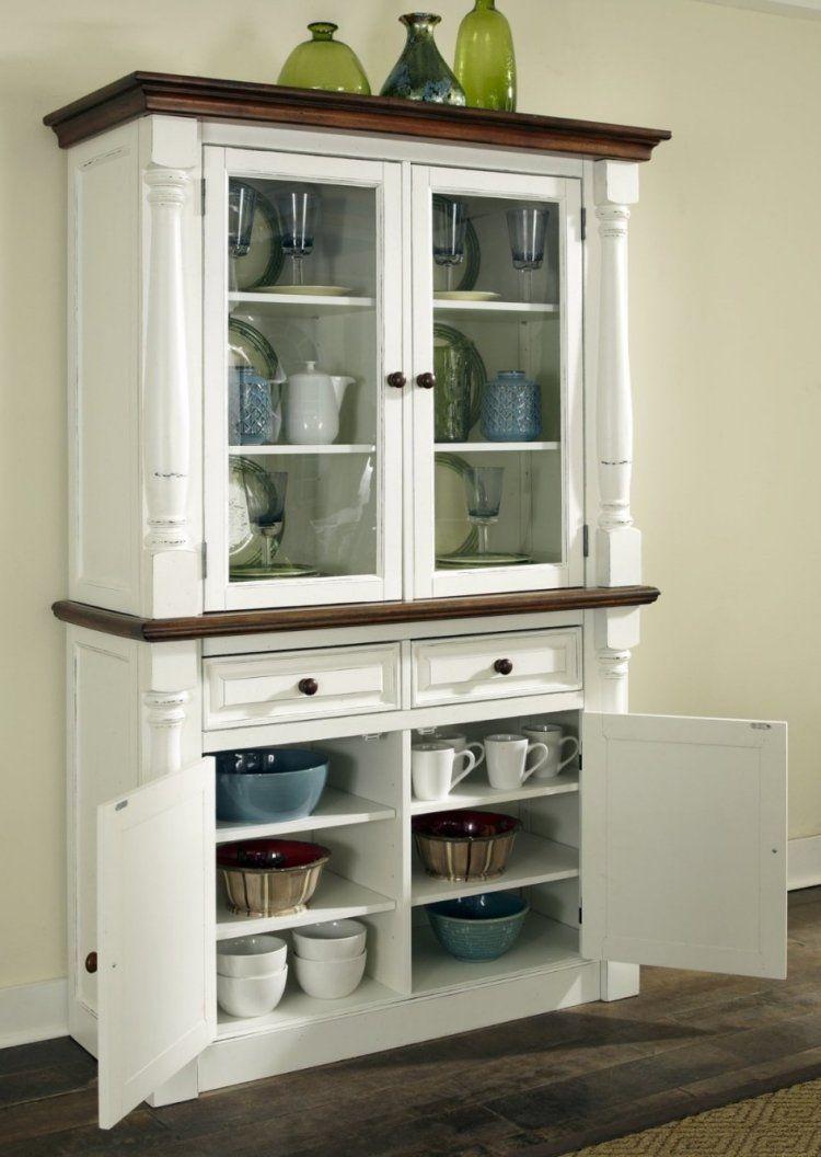 Küchenschrank design  Vintage Küchenschrank in Weiß aus Massivholz für Geschirr und ...